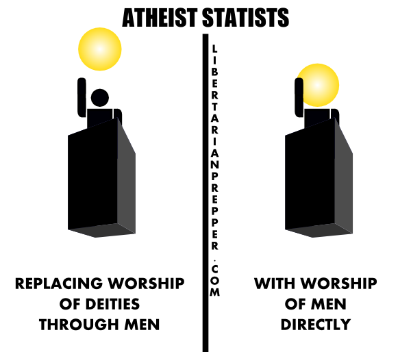 Collectivist notions replace the worship of supernatural deities, with amorphous collectivist notions.
